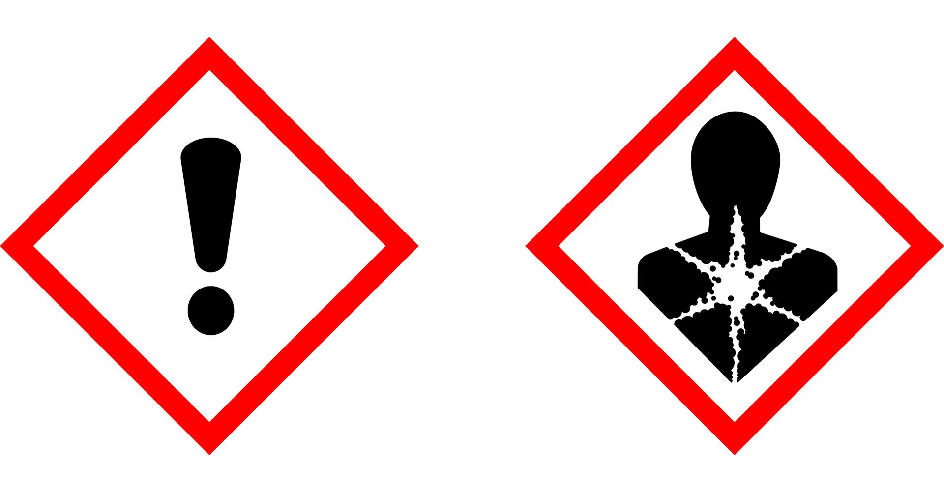 Znaki ostrzegawcze na opakowaniu glikolu