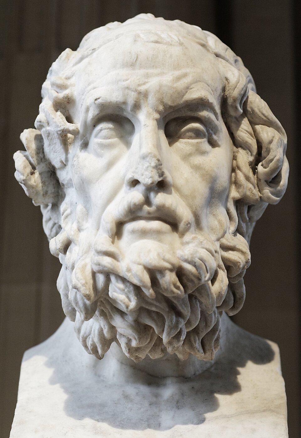 Homer Homer Źródło: Philippe-Laurent, 1812, rzeźba, Musée du Louvre, Paryż, domena publiczna.