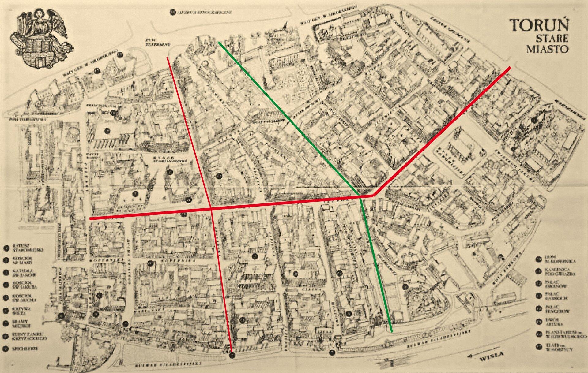 Ilustracja przedstawia szkic mapy toruńskiej starówki. Kolorem zielonym oznaczono granicę dawnych murów, oddzielających Stare iNowe Miasto. Oś architektoniczna główna ipoprzeczna to kolor czerwony. Wlewym górnym rogu znajduje się herb miasta. Po lewej iprawej stronie jest legenda.