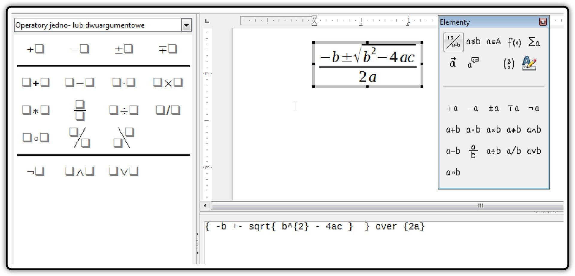Zrzut okna edytora równań wprogramie LibreOffice Writer