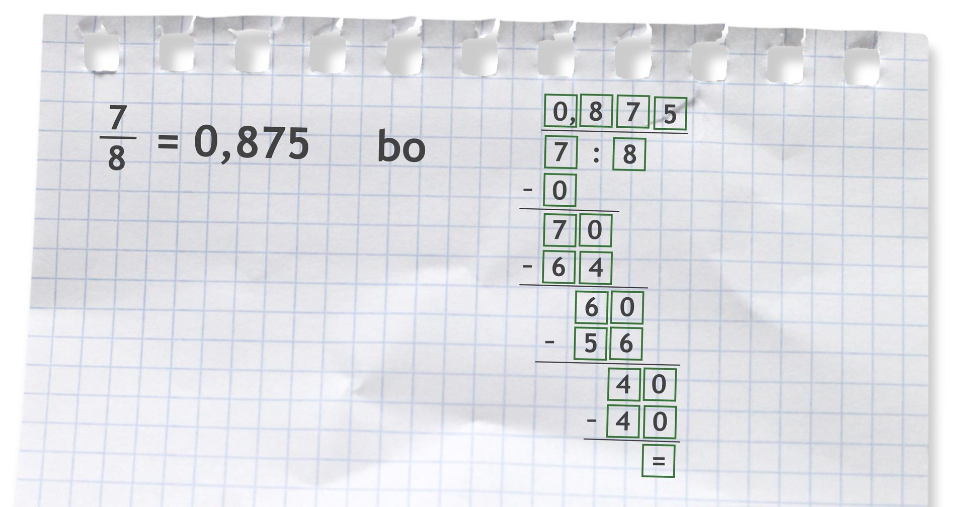 Przykład: siedem ósmych = 0,875 bo siedem dzielone przez 8 = 0,875.