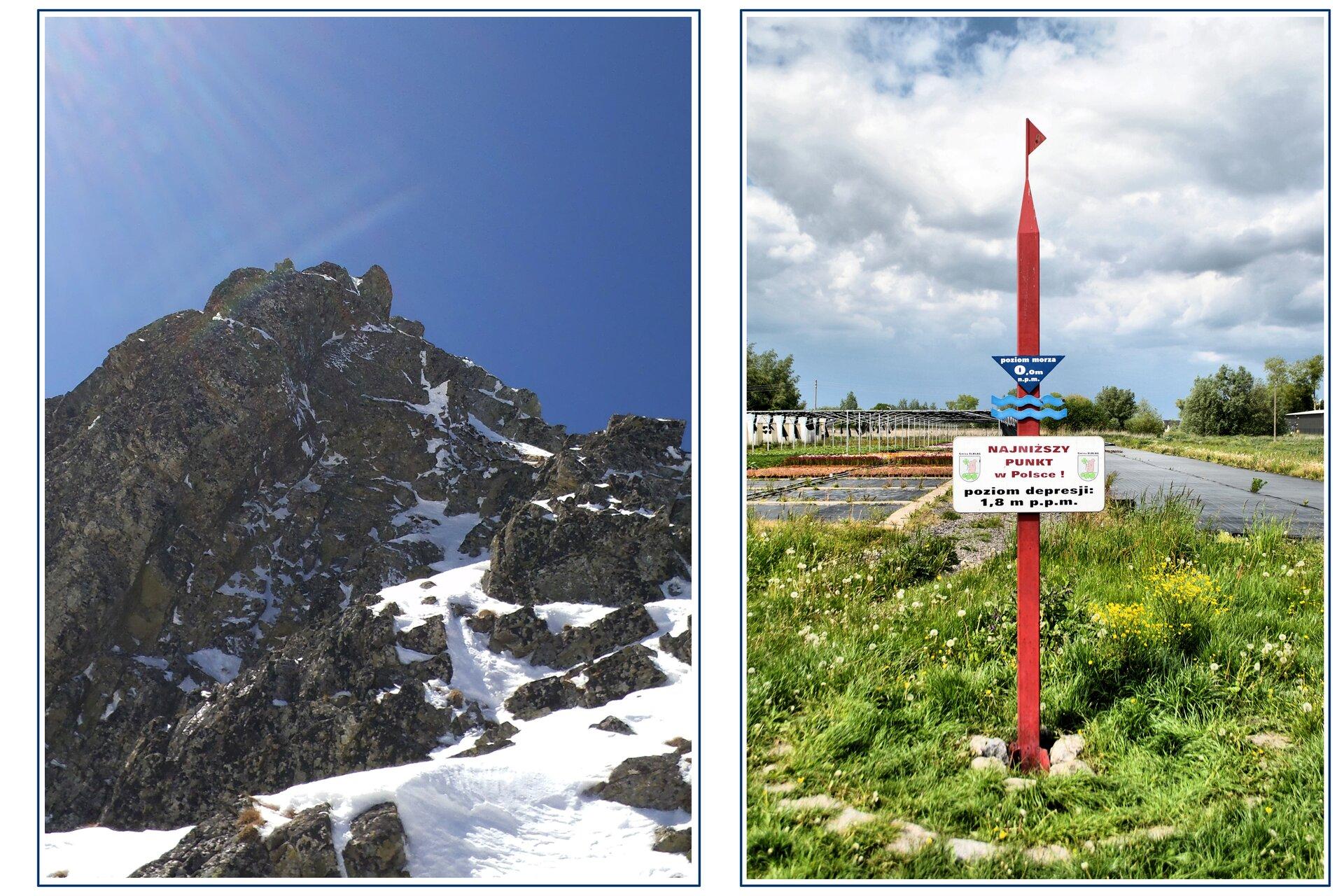 Zdjęcia szczytu Rysy wTatrach isłupa geodezyjnego wmiejscowości Raczki Elbląskie.