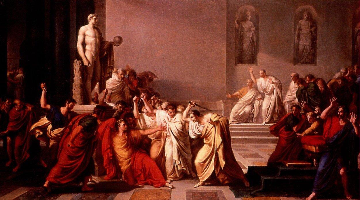 Śmierć Juliusza Cezara Źródło: Vincenzo Camuccini, Śmierć Juliusza Cezara, 1804-1805, olej na płótnie, Galleria Nazionale d'Arte Moderna, domena publiczna.