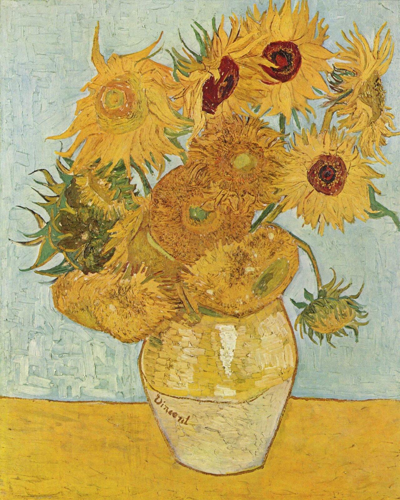 Vincent van Gogh, Wazon zdwunastoma słonecznikami, 1888 Źródło: The Yorck Projec, Vincent van Gogh, Wazon zdwunastoma słonecznikami, 1888, olej na płótnie, Neue Pinakothek, Monachium,, licencja: CC 0.
