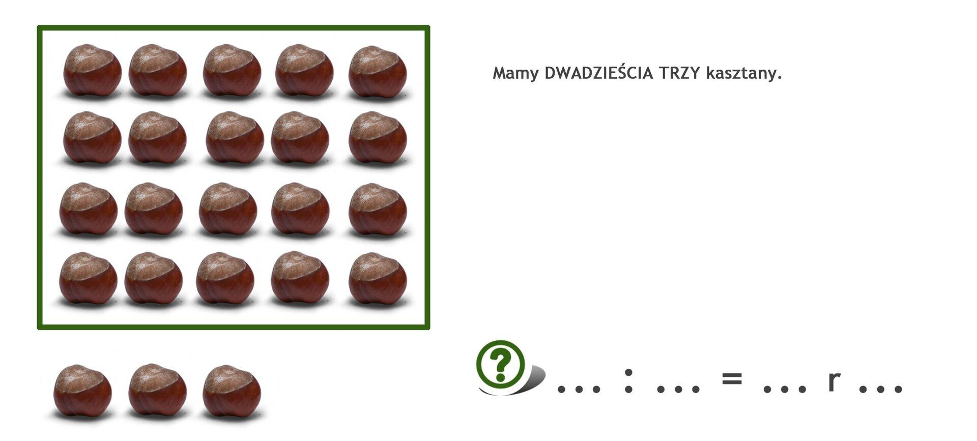 Na rysunku 23 kasztany. Podzielono je na 4 rzędy po pięć kasztanów wkażdym. Zostały 3 kasztany.