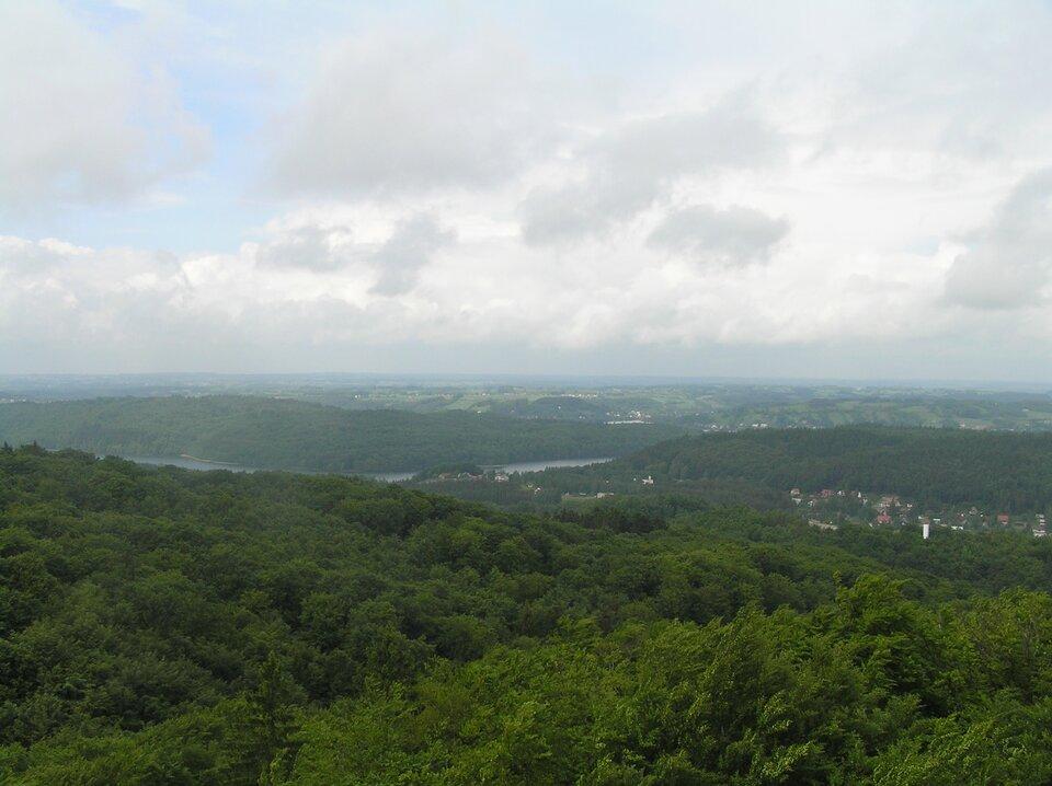 Pagórkowaty teren porośnięty lasem liściastym, widoczny zbiornik wodny izabudowania.