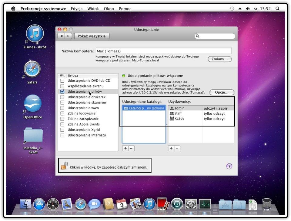 Ilustracja przedstawiająca: Krok 6 udostępniania plików wsystemie Mac OS X
