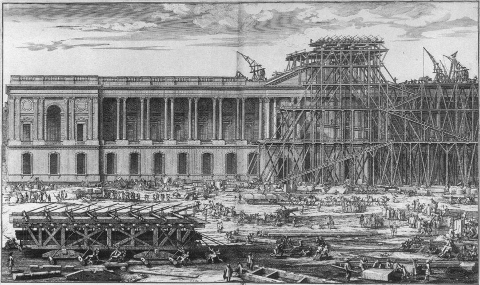 Wznoszeniewschodniej fasady Luwru, którą projektował podczas swojego pobytu we Francji Bernini, ale którą ostatecznie wzniesiono wg projektu francuskiego architekta Clauda Peraulta Wznoszeniewschodniej fasady Luwru, którą projektował podczas swojego pobytu we Francji Bernini, ale którą ostatecznie wzniesiono wg projektu francuskiego architekta Clauda Peraulta Źródło: Sébastien Leclerc, 1674, domena publiczna.
