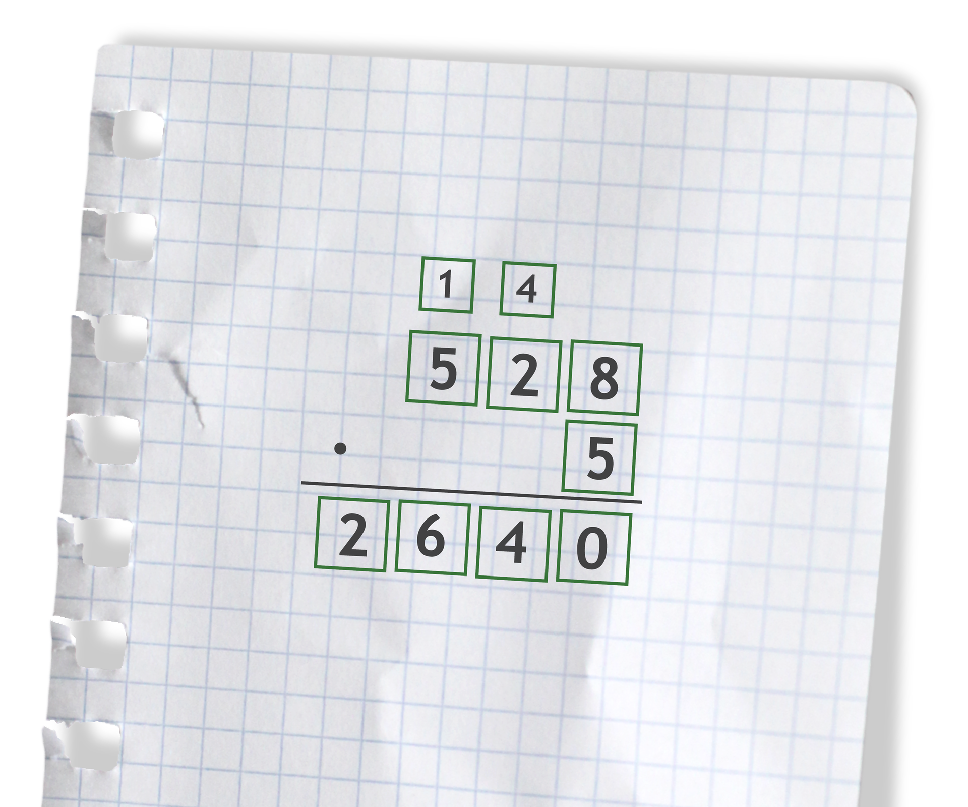 Przykład: 528 razy 5 =2640. Rozwiązanie zadania podpunkt c.