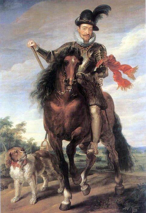 Obraz przedstawia mężczyznę na koniu. Jest tokról Zygmunta III Waza. Na dole obrazu,po jegolewej stronie, przy nodze konia jest namalowanypsa.