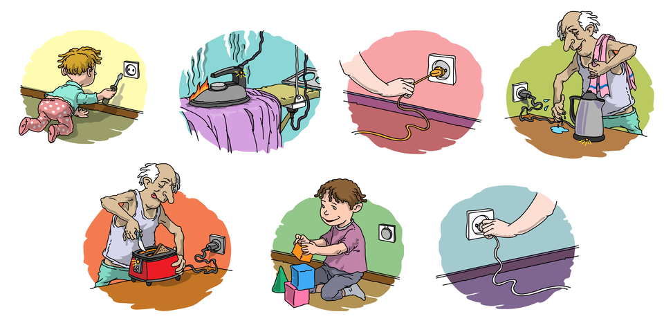 Ilustracja przedstawia siedem rysunków, oddających zasady bezpiecznego inierozważnego korzystania zurządzeń elektrycznych. Na pierwszym zaprezentowane jest dziecko wkładające śrubokręt do gniazdka zprądem. Kolejna ilustracja przedstawia włączone żelazko postawione stopą itak pozostawione na prasowanej odzieży, co spowodowało iskry ipłomień. Na trzecim rysunku ktoś wyjmuje wtyczkę zgniazdka elektrycznego ciągnąc nierozważnie za kabel. Na kolejnym rysunku zaprezentowano mężczyznę obsługującego mokrymi rękoma czajnik elektryczny podłączony do prądu iuruchomiony. Na rysunku obok - ten sam mężczyzna próbuje oczyścić wnętrze tostera za pomocą noża. Toster jest podłączony do prądu iuruchomiony. Dwie ostanie ilustracje to przykład rozważnego korzystania zurządzeń elektrycznych: pierwsza znich obrazuje gniazdko elektryczne zabezpieczone zaślepką, przy którym bawi się bezpieczne dziecko, na drugiej zaprezentowano prawidłowe wyjmowanie wtyczki zgniazdka elektrycznego.