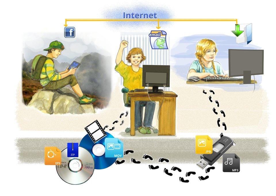 Ilustracja przedstawiajaca możliwości Internetu