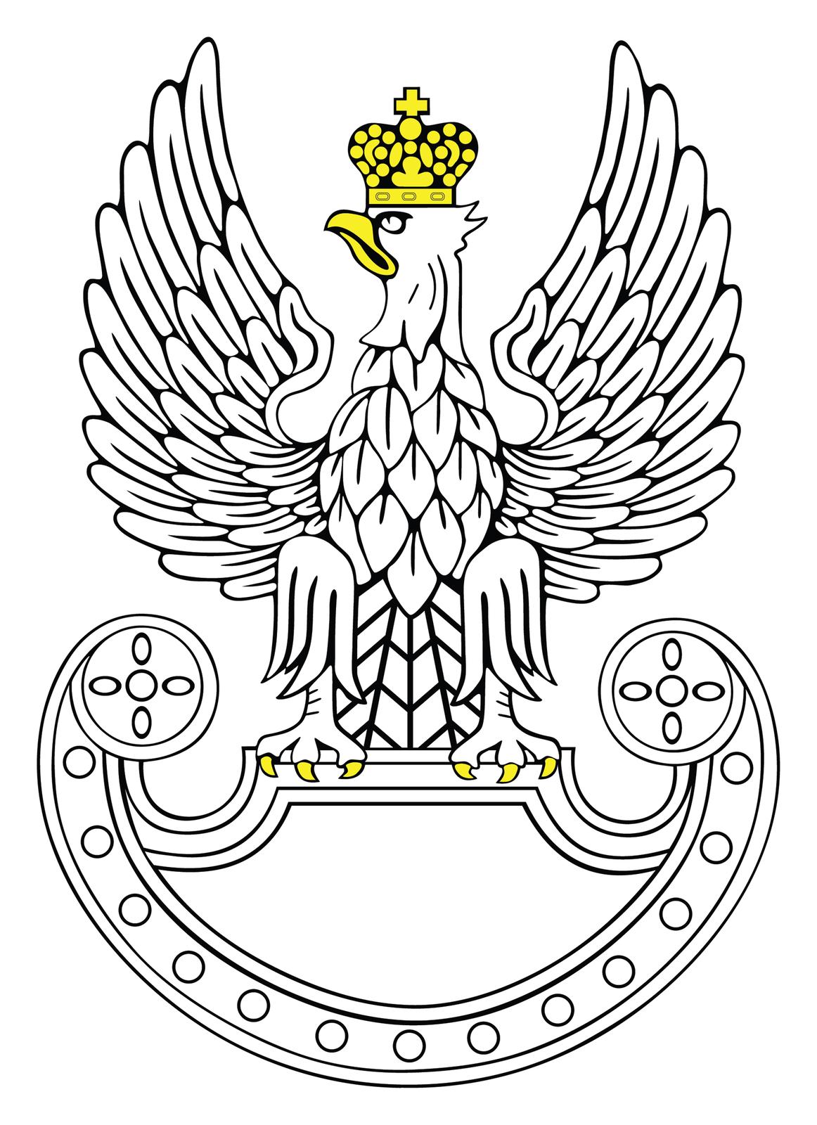 Ilustracja przedstawia symbol wojsk lądowych stylizowany na godło orła polskiego. Biały orzeł ze skrzydłami wzniesionymi ku górze. Głowa zżółtym dziobem skierowana wprawo. Na głowie żółta korona. Na szczycie korony krzyż równoramienny. Szpony orła zakończone żółtymi pazurami przytrzymują tarczę. Orzeł osadzony jest na tarczy amazonek. Tarcza zakończone półkoliście wdolnej części. Kształt tarczy tworzy formę półksiężyca ułożonego poziomo. Końce tarczy zaokrąglone. Wnętrze tarczy białe.