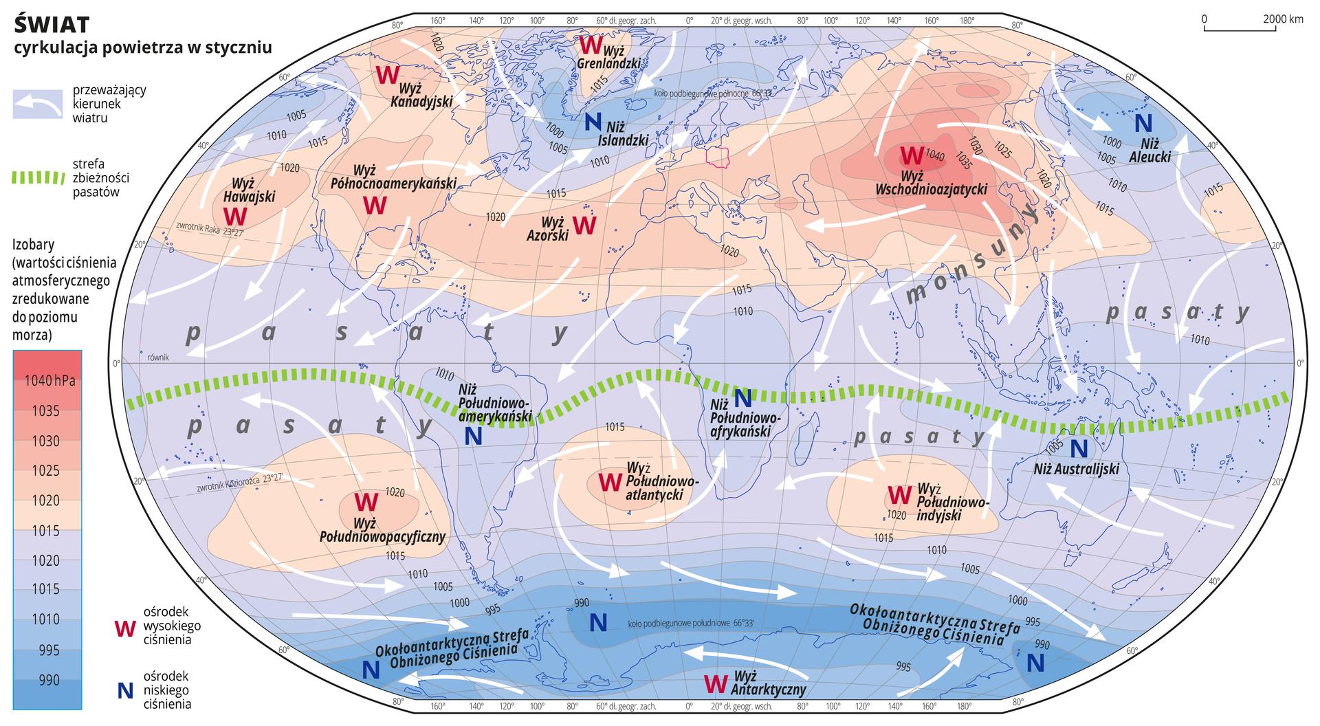 Ilustracja przedstawia mapę świata iobrazuje cyrkulację powietrza wstyczniu. Na mapie kolorami zaznaczono wartości ciśnienia atmosferycznego zredukowane do poziomu morza. Odcienie koloru czerwonego oznaczają obszary owysokim ciśnieniu, odcienie koloru niebieskiego oznaczają obszary oniskim ciśnieniu. Obszary owysokim ciśnieniu położone są wAmeryce Północnej, na Grenlandii, wpółnocnej, środkowej iwschodniej części Azji oraz na oceanach wpobliżu obu zwrotników. Obszary oniskim ciśnieniu atmosferycznym położone są na Antarktydzie iotaczających ją wodach aż do krańcowych punktów Ameryki Południowej, Afryki iAustralii, obejmują całą Amerykę Południową, środkową ipołudniową część Afryki , Australię iOceanię, Islandię iAleuty. Czerwonymi literami Wopisano ośrodki wysokiego ciśnienia, niebieskimi literami Nopisano ośrodki niskiego ciśnienia. Podano również nazwy ośrodków wysokiego iniskiego ciśnienia. Na mapie opisano izobary co pięć hektopaskali. Najniższa wartość wynosi dziewięćset dziewięćdziesiąt hektopaskali, najwyższa wartość wynosi tysiąc czterdzieści hektopaskali. Białymi strzałkami oznaczono przeważający kierunek wiatru. Układają się one wróżnych kierunkach. Zieloną przerywaną linią zaznaczono strefę zbieżności pasatów. Przebiega ona nieco poniżej równika. Opisano pasaty – wzdłuż strefy zbieżności pasatów oraz monsuny – na południowo-wschodnim wybrzeżu Azji. Mapa pokryta jest równoleżnikami ipołudnikami. Dookoła mapy wbiałej ramce opisano współrzędne geograficzne co dwadzieścia stopni. Po lewej stronie mapy wlegendzie umieszczono prostokątny pionowy pasek. Pasek podzielono na dwanaście części. Ugóry sześć odcieni koloru czerwonego od ciemnego do jasnego, na dole sześć odcieni koloru niebieskiego od jasnego do ciemnoniebieskiego. Linie pomiędzy odcieniami kolorów – izobary – opisano co pięć hektopaskali. Kolor czerwony oznacza obszary owysokim ciśnieniu – powyżej tysiąc piętnaście hektopaskali, kolor niebieski oznacza obszary oniskim ciśnieniu.