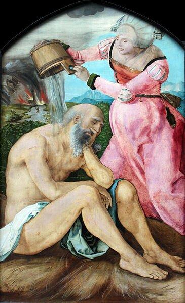 Hiob ijego żona Źródło: Albrecht Dürer, Hiob ijego żona, ok. 1505, domena publiczna.