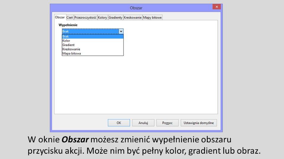 Slajd 4 galerii: Formatowanie przycisków akcji wprogramie LibreOffice Impress