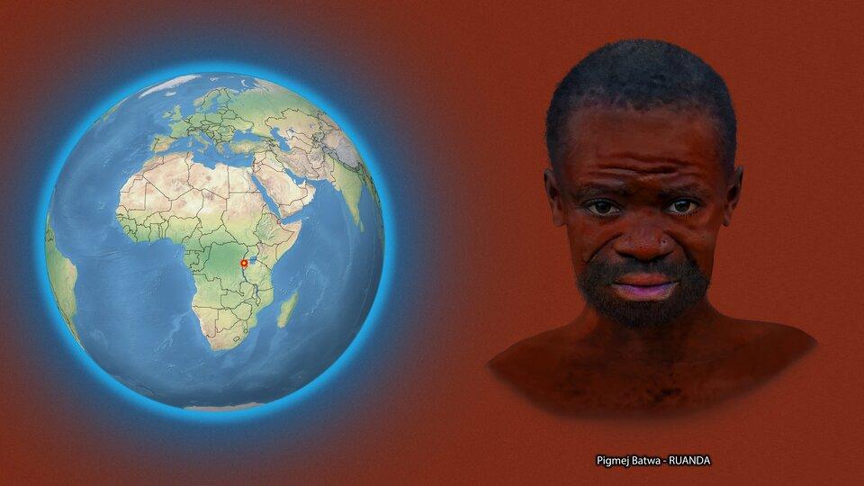 Na ilustracji kula ziemska zzaznaczonym czerwonym punktem - Ruanda. Obok twarz ciemnoskórego mężczyzny, krótkie włosy. Podpis – Pigmej Batwa. Ruanda.