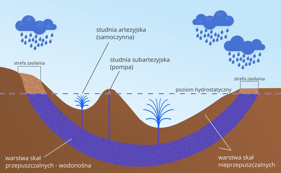 Na ilustracji basen artezyjski – niecka ospecyficznym układzie warstw skalnych, na przemian przepuszczalnych – warstw wodonośnych inieprzepuszczalnych. Wody artezyjskie występują między dwiema warstwami skał wodoszczelnych ipod ciśnieniem hydrostatycznym wydostają się na zewnątrz przez studnię artezyjską.