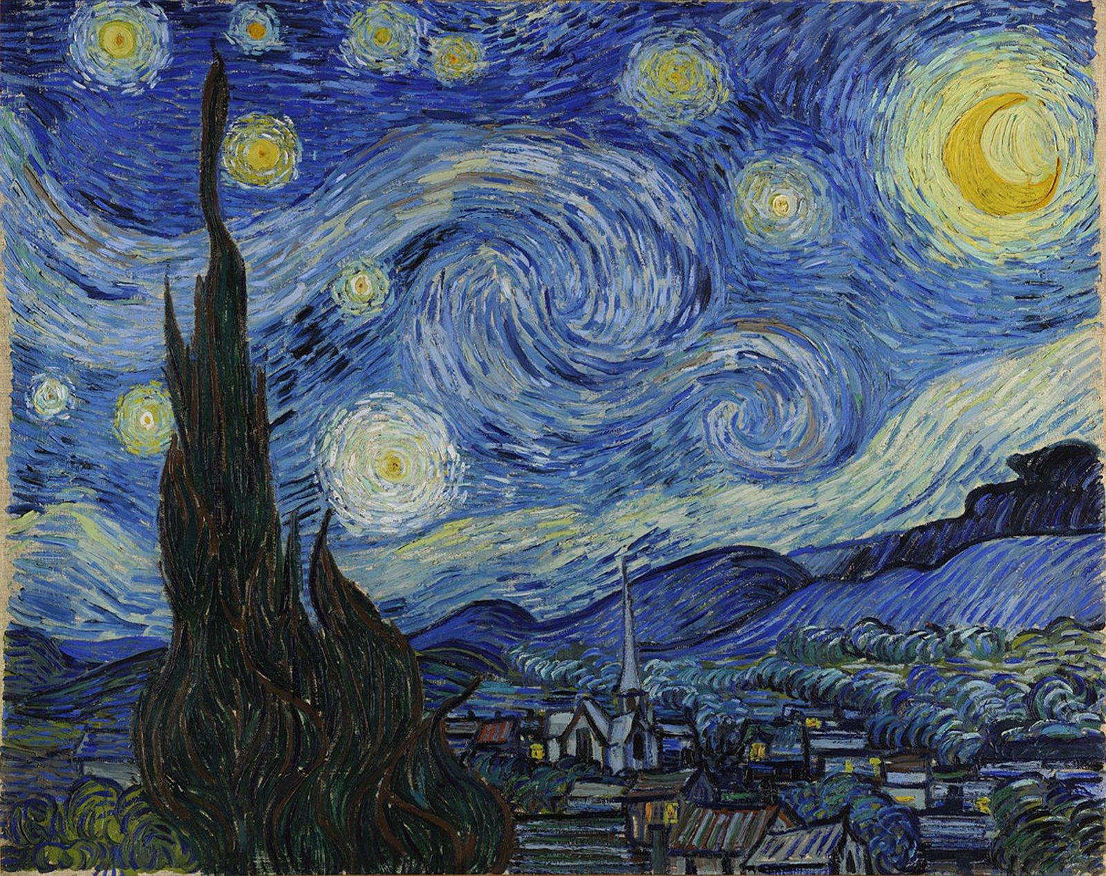 Gwiaździsta noc (Cyprysy iwieś) Źródło: Vincent van Gogh, Gwiaździsta noc (Cyprysy iwieś), 1889, olej na płótnie, domena publiczna.