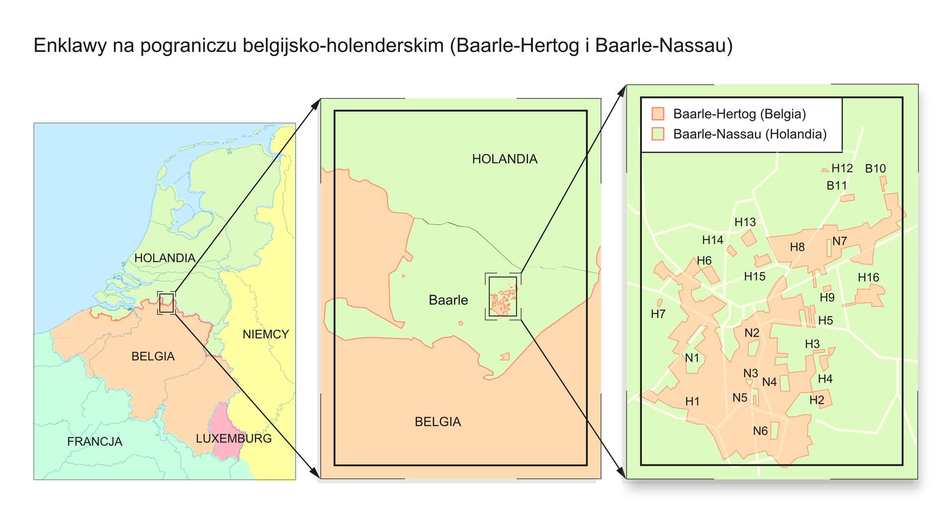 Ilustracja przedstawia trzy mapy wformie pionowych prostokątów wpoziomym rzędzie. Pierwsza na mapa, lewa strona ilustracji. Fragment Europy zachodniej. Wcentrum mapy Belgia, kolor blado różowy. Powyżej Holandia, kolor zielony. Na wschód Niemcy, kolor żółty. Na granicy belgijsko-holenderskiej, mały prostokąt. Zprawego górnego idolnego rogu wychodzą strzałki. Groty strzałek skierowane na lewy górny idolny róg mapy po prawej stronie. Mapa wdrugim prostokącie, na prawo, to powiększony obszar zmapy pierwszej. Obszar powiększony to enklawa Baarle. Wśrodku enklawy zaznaczony mały prostokąt. Od górnego idolnego rogu wychodzą strzałki. Groty strzałek skierowane na lewą krawędź trzeciego prostokąta. To mapa enklawy wpowiększeniu. Baarle-Hertog wBelgii oraz Baarle-Nassau wHolandii. Na mapie tereny należące do Belgii oznaczone literą ha. Litera en to tereny Holandii.