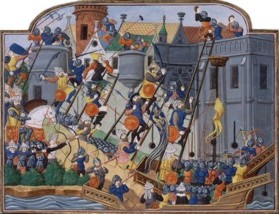 """Zdobycie Konstantynopola w1453 r. Ilustracjapochodzi zilustrowanej francuskiej kroniki ztrzeciej ćwierci XV w. Jeana Chartiera """"Kronika Karola VII"""" (Chronique de Charles VII), przechowywanej wBibliotece Narodowej wParyżu.Dawniej malarza, który namalował tę miniaturę, nazywano """"Mistrzem Kroniki Froissarta"""" (czyt. Fruasarta) obecnie, po latach badań iporównań historycy ustalili prawdopodobne nazwisko autora: Philippe de Mazerolles. Źródło: Philippe de Mazerolles, Zdobycie Konstantynopola w1453 r., ok. 1450-1475, domena publiczna."""