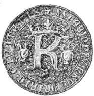 Fotografia przedstawiająca pieczęć ławniczą miasta Kazimierza zXIV w. Wśrodkowej część pieczęci litera K, anad nią korona.