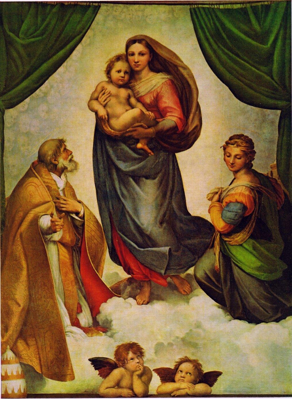 Madonna Sykstyńska Źródło: Rafael Santi, Madonna Sykstyńska, ok. 1513–1514, Galeria Obrazów Starych Mistrzów, Drezno, domena publiczna.