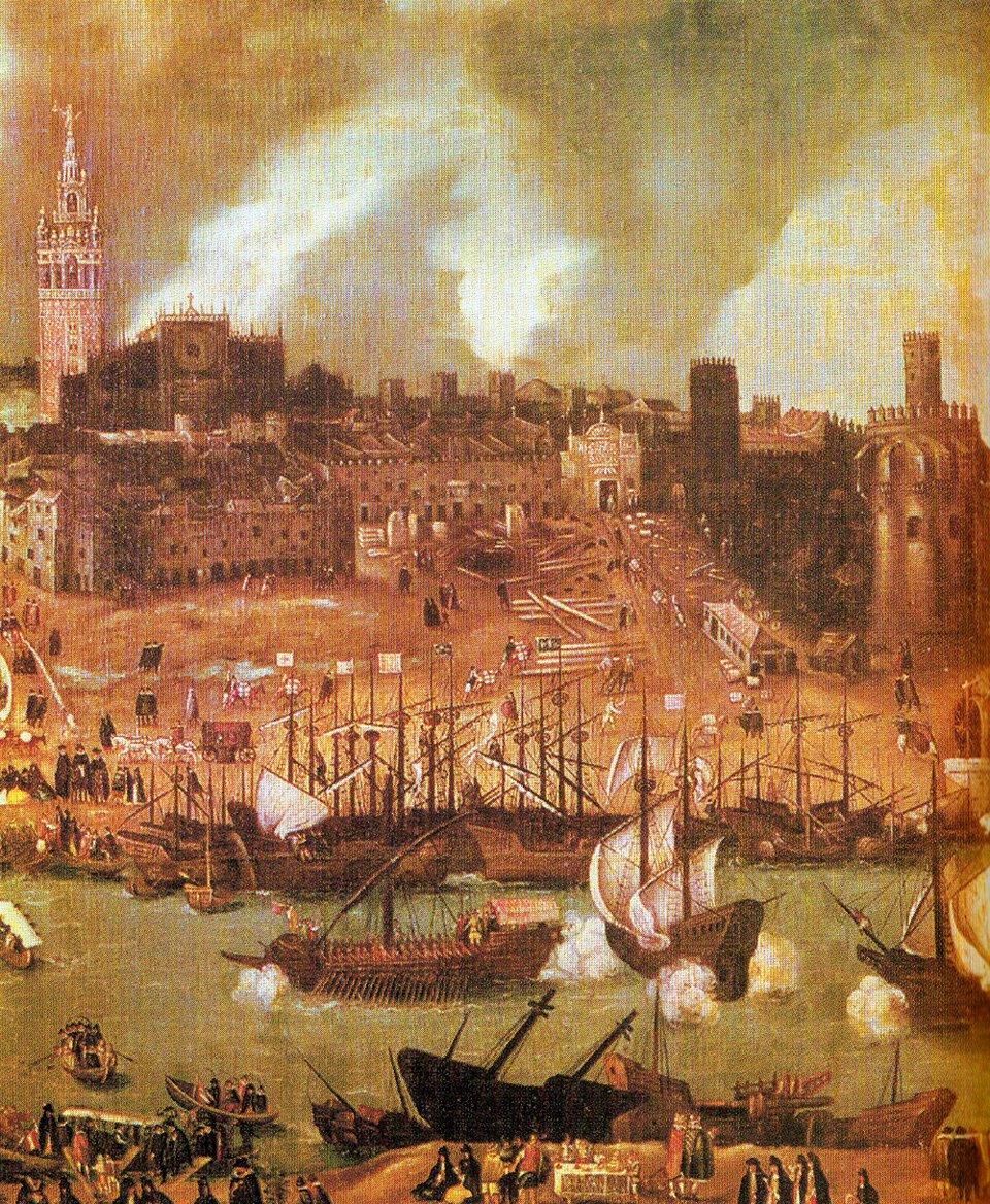Stocznie na rzece Gwadalkiwir wXVI w. Sevilla Źródło: Stocznie na rzece Gwadalkiwir wXVI w. Sevilla, XVI w., domena publiczna.