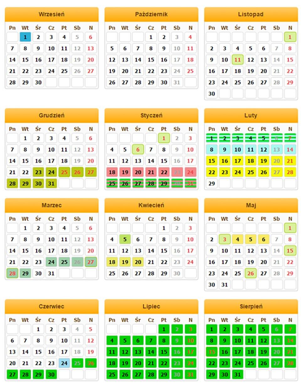 Ilustracja jednostronicowego rocznego kalendarza zpodziałem na miesiące