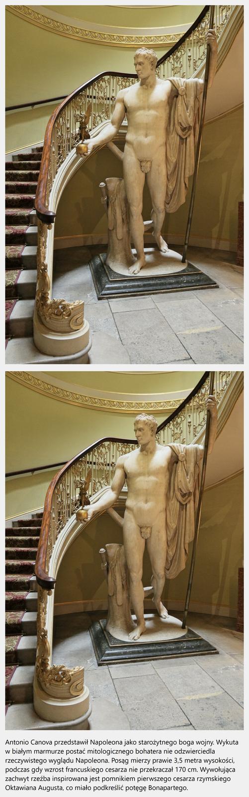 """Ilustracja interaktywna przedstawia dzieło Antonio Canova """"Napoleon jako Mars"""". Ukazuje Napoleona jako monumentalnego, stylizowanego na greckiego boga Marsa. Jest to akt wpostawie kontrapostu. Napoleon wprawej dłoni trzyma jabłko zpozłacaną boginią Nike. Na lewym ramieniu przerzucony ma płaszcz, awdłoni trzyma włócznie. Na ilustracji umieszczony jest niebieski kwadrat zliterą """"i"""". Po odwróceniu ilustracji ukazuje się ta sama rzeźba zinformacją:"""