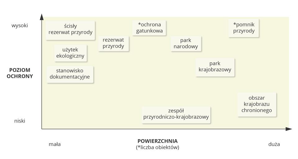 Wykres przedstawiający poziom ochrony izasięg prawnych form ochrony przyrody wPolsce. <table><tr><td>wysoki</td><td>Ścisły</br>rezerwat</br>przyrody</td><td></td><td>Ochrona</br>gatunkowa</td><td></td><td></td><td>Pomnik</br>przyrody</td></tr><tr><td></td><td>Użytek</br>ekologiczny</td><td>Rezerwat</br>przyrody</td><td></td><td>Park</br>narodowy</td><td></td><td></td></tr><tr><td>Poziom</br>ochrony</td><td>Stanowisko</br>dokumentacyjne</td><td></td><td></td><td></td><td>Park</br>krajobrazowy</td><td></td></tr><tr><td></td><td></td><td></td><td></td><td></td><td></td><td></td></tr><tr><td>niski</td><td></td><td></td><td></td><td>Zespół</br>przyrodniczo-</br>krajobrazowy</td><td></td><td>Obszar</br>chronionego</br>krajobrazu</td></tr><tr><td></td><td>mała</td><td></td><td>Powierzchnia</br>(liczba obiektów)</td><td></td><td></td><td>duża</td></tr></table>