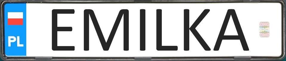 """tablica rejestracyjna (indywidualna), zimieniem """"Emilka"""""""