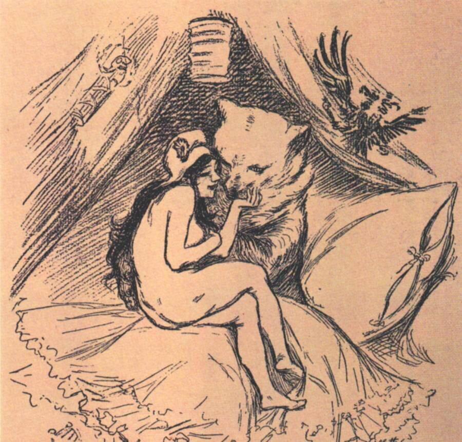 Obrazek przedstawiający sojusz francusko-rosyjski, Marianna wuścisku rosyjskiego niedźwiedzia Źródło: Adolphe Léon Willette, Obrazek przedstawiający sojusz francusko-rosyjski, Marianna wuścisku rosyjskiego niedźwiedzia, 1893, domena publiczna.