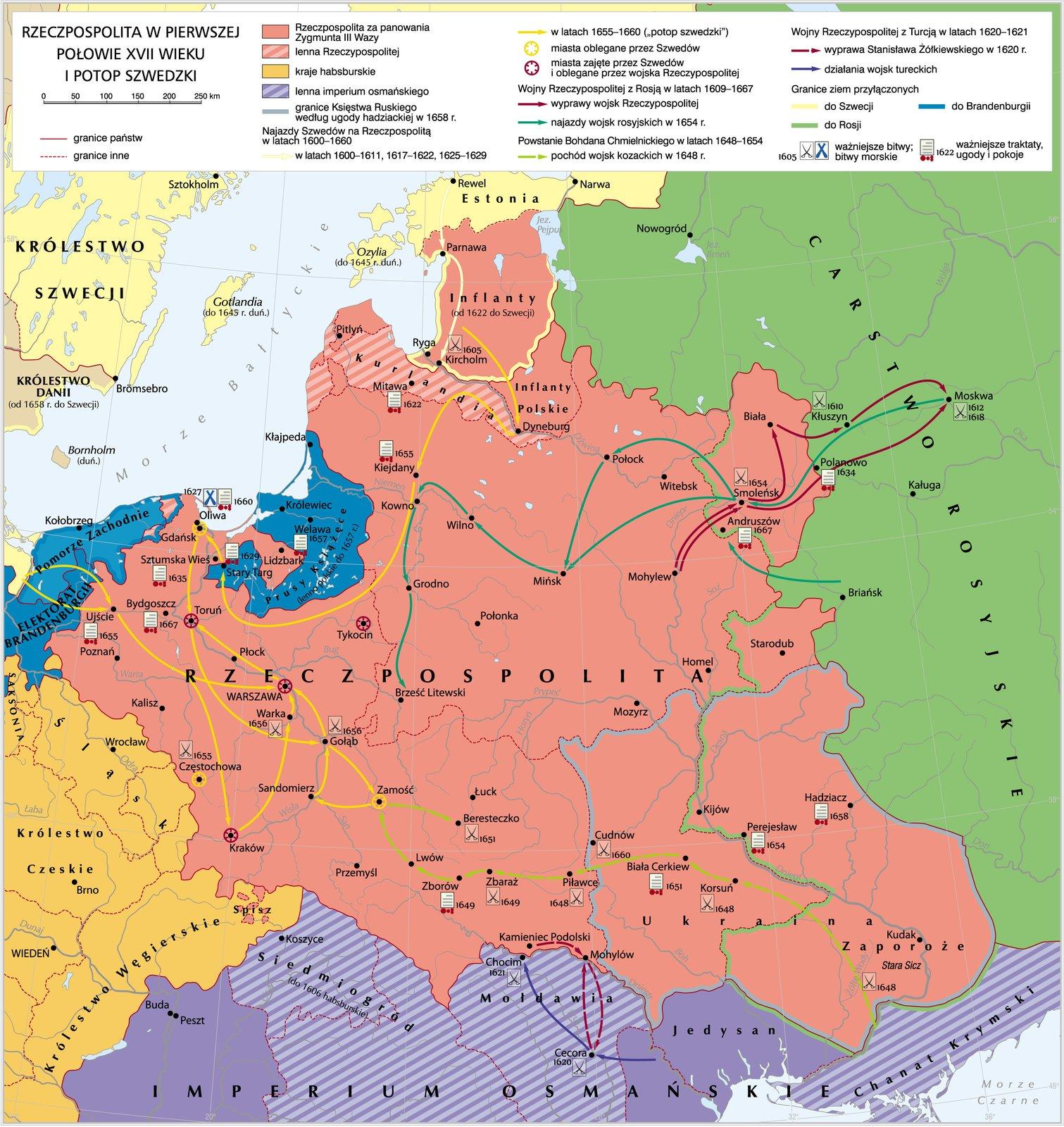 mapa przedstawia Rzeczpospolitą wczasach kiedy była zajmowana przez wojska szwedzkiegie (czyli podczas tzw.potopu szwedzkiego)