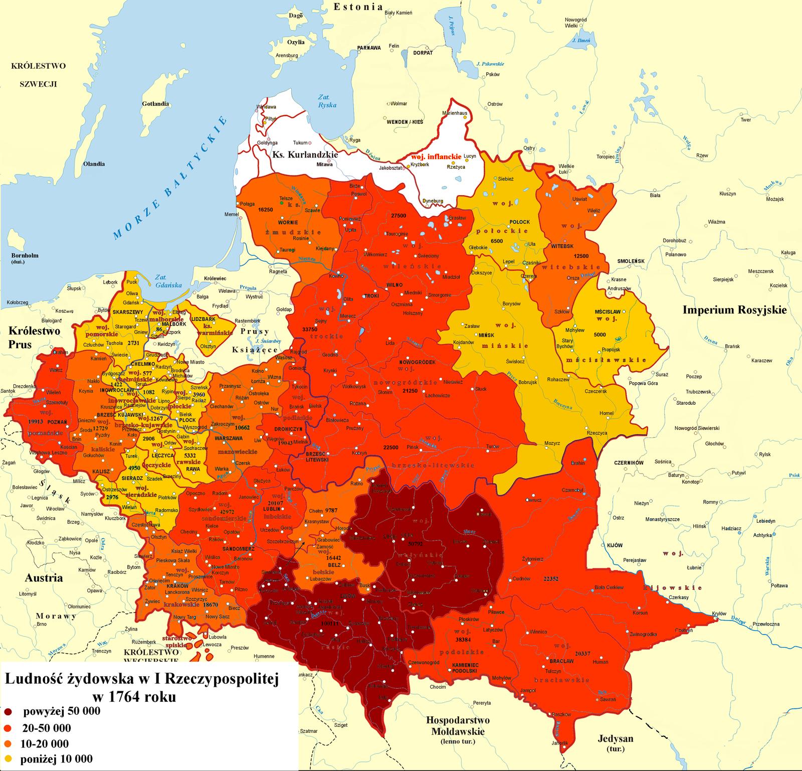 mapa liczba ludności żydowskiej zpodziałem na województwa w1764