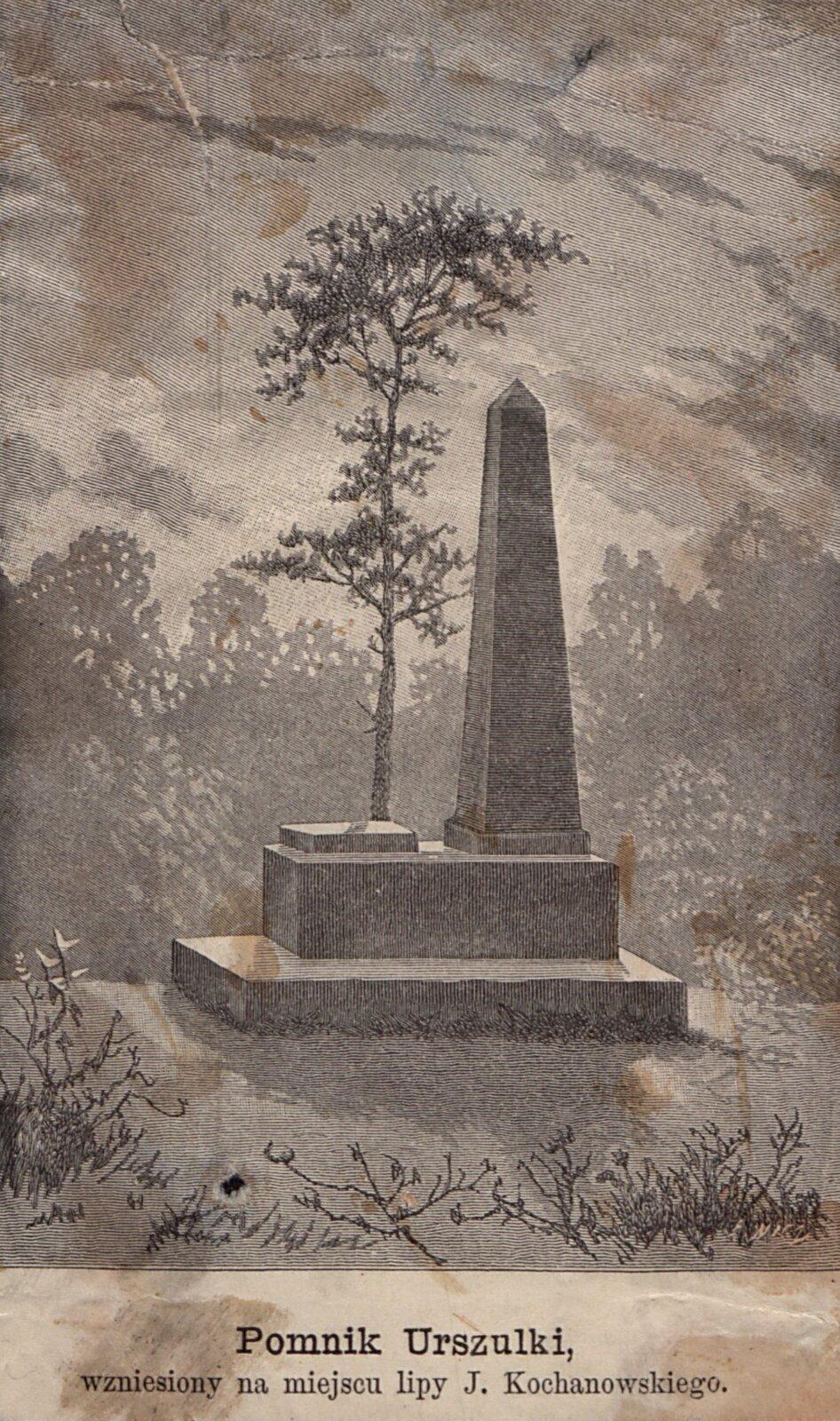 Pomnik Urszulki, wzniesiony na miejscu lipy J. Kochanowskiego Źródło: Edward Karol Nicz, Pomnik Urszulki, wzniesiony na miejscu lipy J. Kochanowskiego, 1868, drzeworyt, domena publiczna.