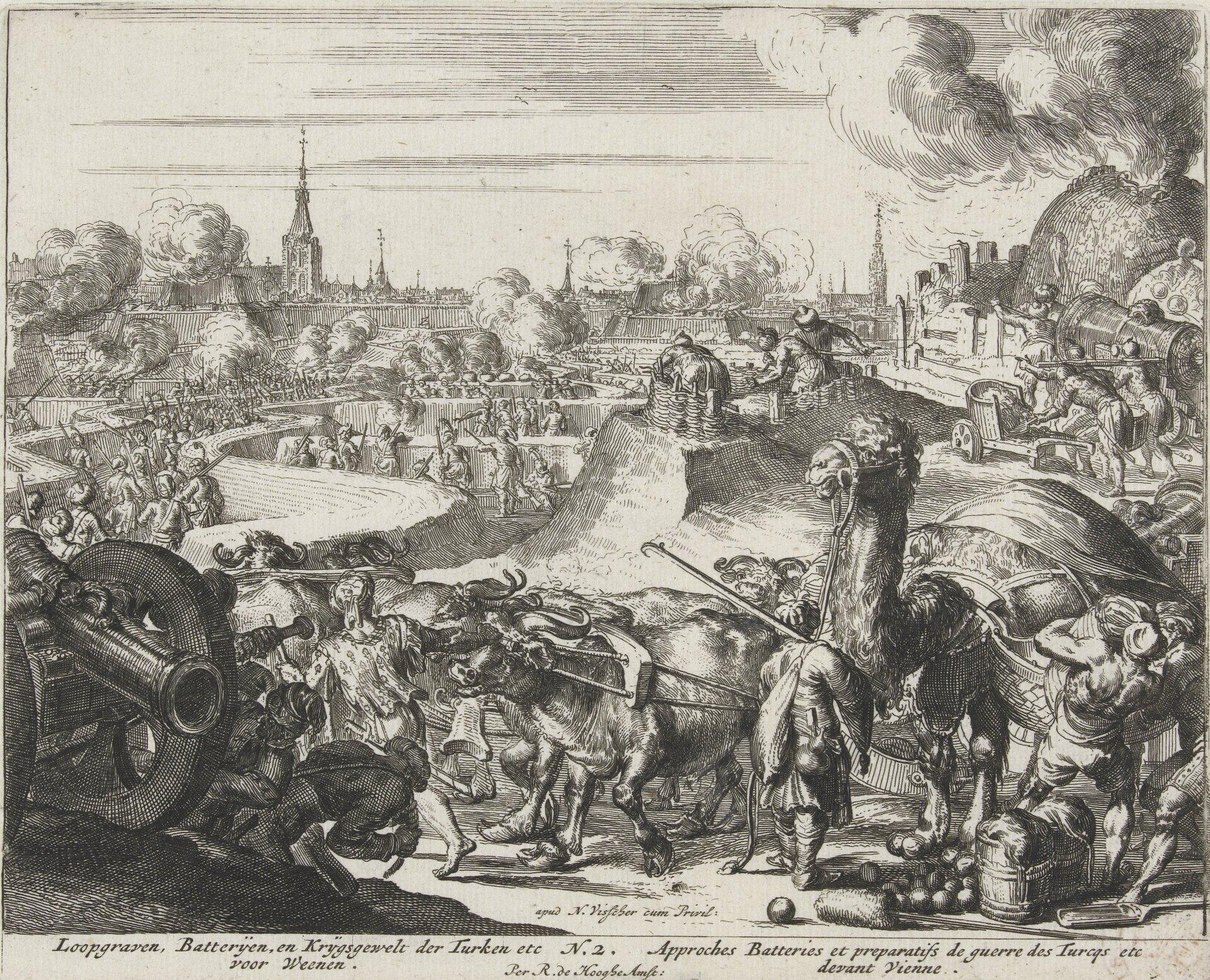 Oblężenie Wiednia - seria Okopy tureckie pod Wiedniem. Źródło: Romeyn de Hooghe, Oblężenie Wiednia - seria, 1684, akwaforta, Rijksmuseum (hol. Muzeum Państwowe) wAmsterdamie, domena publiczna.