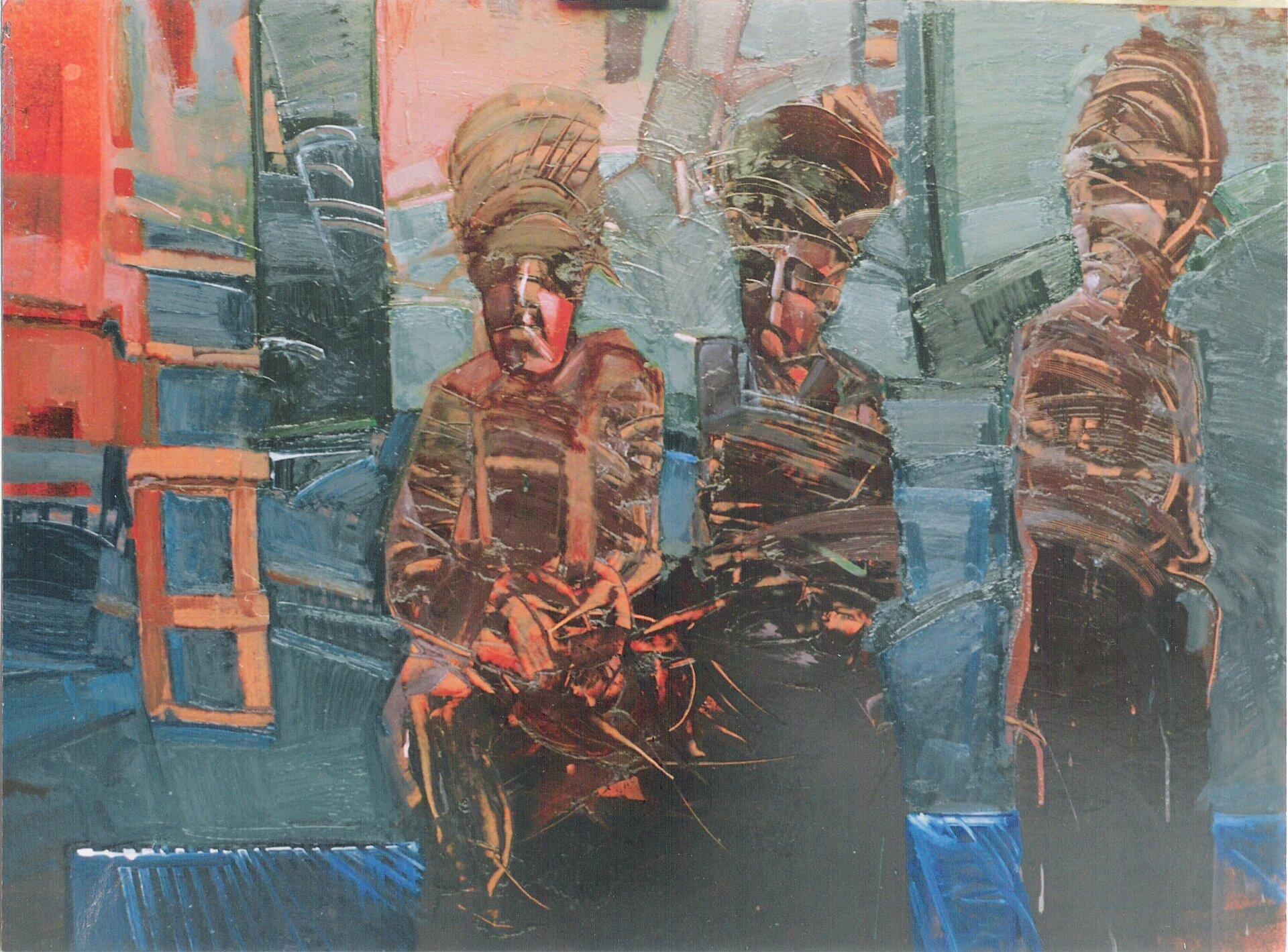 """Ilustracja przedstawia obraz olejny """"21. Spotkanie"""" autorstwa Piotra Klugowskiego. Praca ukazuje malowane szeroką plamą, uproszczone trzy postacie prawdopodobnie kobiet owysokich fryzurach namalowane wbrązowo-czerwono-czarnej tonacji. Tło stanowi abstrakcyjna kompozycja składająca się zzielono-niebieskich plam, które wlewym górnym rogu przechodzą wczerwone płaszczyzny. Udołu znajduje się ciemny prostokąt pokryty niebieskimi skośnymi liniami, który wprowadza wrażenie perspektywy wobrazie. Obraz cechuje się dużym uproszczeniem form. Dla artysty nie jest ważny detal. Przy pomocy prostych środków wyrazu stara się oddać nastroju przedstawionej sceny. Praca wykonana została wchłodnej, brązowo-zielono-niebieskiej tonacji barw zakcentami ciepłych czerwieni."""