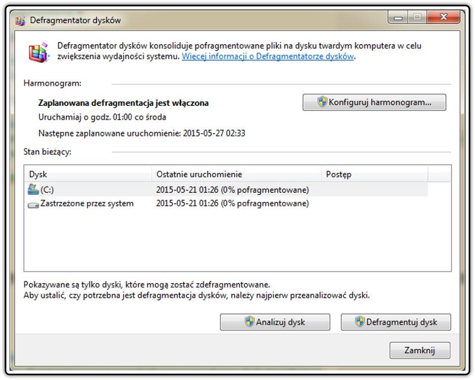 Zrzut okna: Defragmentator dysku wsystemie operacyjnym Windows