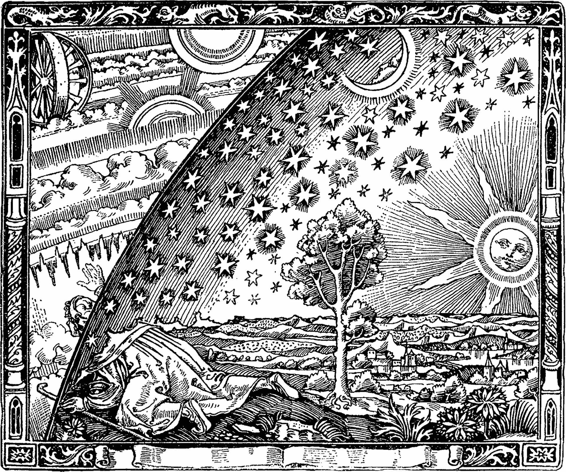 Ilustracja, to kopia drzeworytu przedstawiającego dawne wyobrażenie świata. Wprawym dolnym rogu ilustracji znajduje się płaska powierzchnia Ziemi nad którą wznosi się Słońce. Powierzchnia Ziemi przykryta jest kopułą sklepienia niebieskiego, na którym narysowano gwiazdy iksiężyc. Po lewej stronie ilustracji przez kopułę sklepienia wystawia głowę człowiek iwidzi wszechświat zplanetami ichmurami.