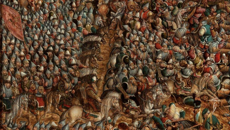 Bitwa pod Orszą - detal Pułki moskiewskie. Źródło: artysta nieznany, Bitwa pod Orszą - detal, między 1525-1540, tempera na dębowej desce, Muzeum Narodowe wWarszawie, domena publiczna.