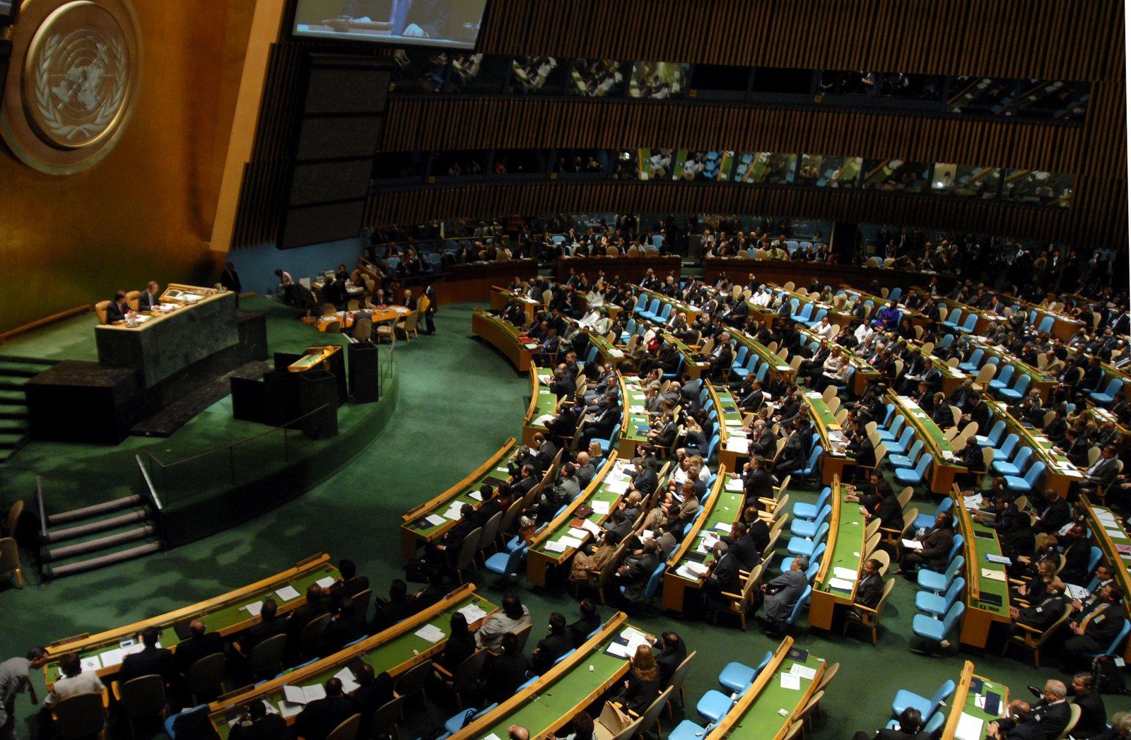 Główna siedziba ONZ wNowym Jorku Źródło: Marcello Casal JR/ABr, Główna siedziba ONZ wNowym Jorku, licencja: CC BY 3.0.