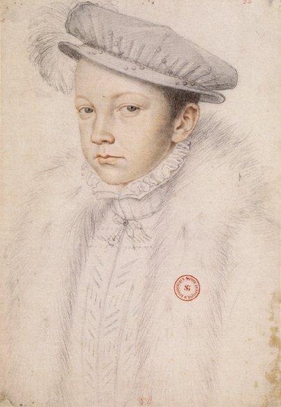 Franciszek II, Król Francji Franciszek II (ur. 1544, król od 1559, zm. 1560). Portret najstarszego syna Henryka II iMarii Medycejskiej, który zasiadł na tronie po przedwczesnej śmierci ojca w1559; król był małoletni, amałżeństwo zMarią Stuart spowodowało, że olbrzymie wpływy zdobyli wujowie królowej – książęta de Guise. Portret narysował znany renesansowy artysta francuski François Clouet (1515-1572). Źródło: François Clouet, Franciszek II, Król Francji, domena publiczna.