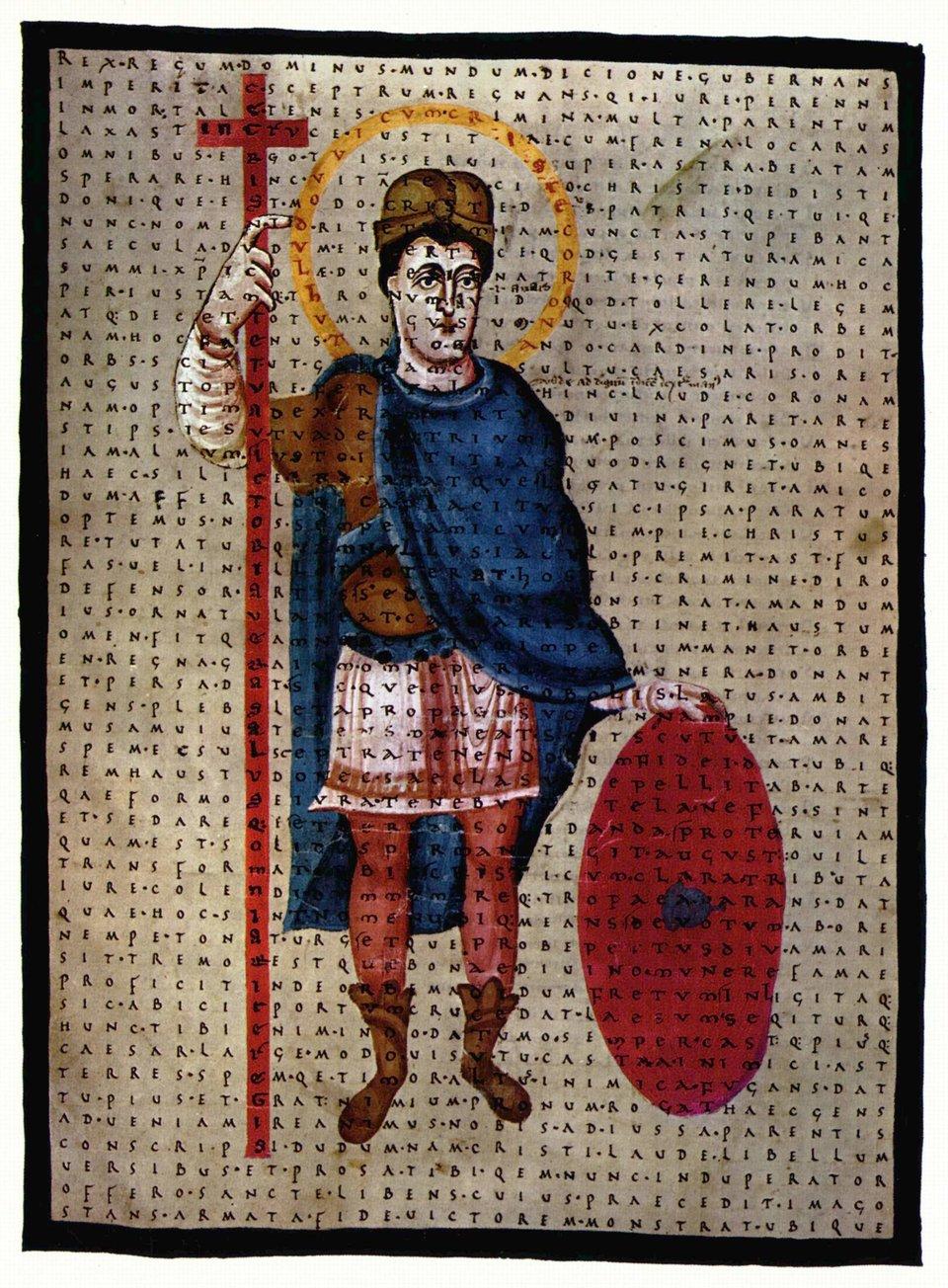 Ludwik Pobożny jako obrońca Krzyża Źródło: Ludwik Pobożny jako obrońca Krzyża, domena publiczna, [online], dostępny winternecie: wikimedia.