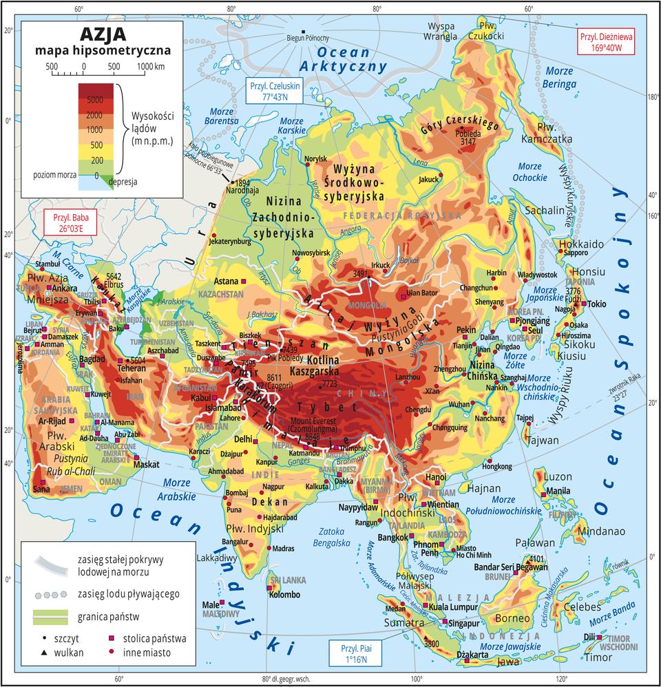 Mapa hipsometryczna Azji iskrajne przylądki