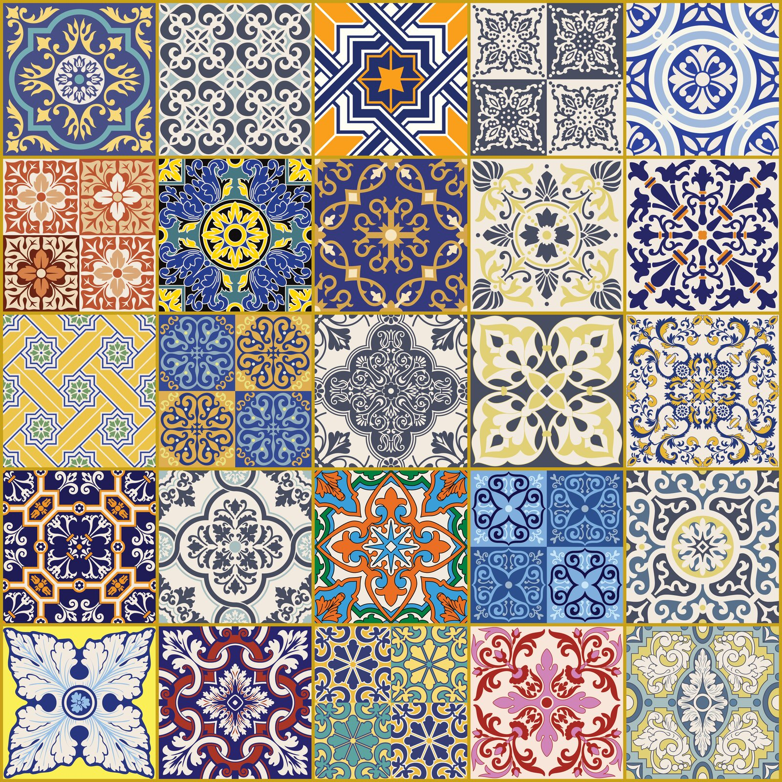 Ilustracja przedstawia płytki Azulejos. Ukazuje ona ornamenty na kwadratowych płytach. Każdy wzór jest inny, większość znich jest symetrycznych.