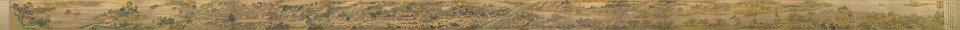 """Widok wzdłuż rzeki podczas święta Qingming Widok ówczesnej stolicyBianjing (obecnie Kaifeng)wzdłuż rzeki podczas święta Qingming - osiemnastowieczna kopia panoramy zXII w. znieco zmienioną kolorystyką i""""poprawionymi"""" niektórymi fragmentami, by miasto wyglądało na bogatsze. Zwój, na którym namalowano obraz ma35 centymetrów wysokości iaż11 metrów szerokości. Źródło: wg Zeduan Zhang, Widok wzdłuż rzeki podczas święta Qingming, XVIII w., Narodowe Muzeum Pałacowe, Taipei, Tajwan, domena publiczna."""