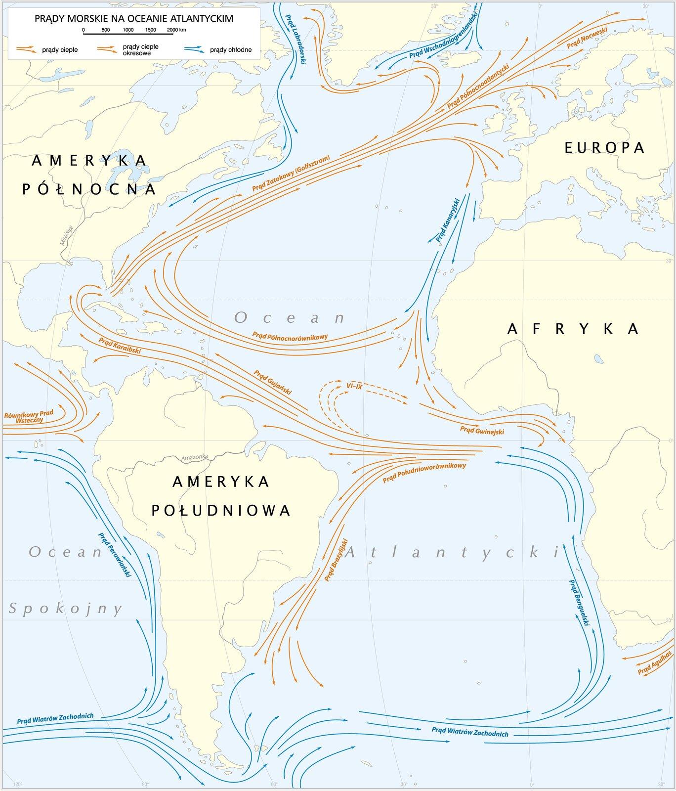 Prądy morskie na Atlantyku Prądy morskie na Atlantyku Źródło: Krystian Chariza izespół, licencja: CC BY 3.0.