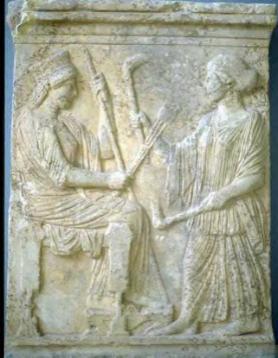 Demeter iPersefona Źródło: Demeter iPersefona, 480-450 p.n.e., Muzeum Narodowe, Calabria (Włochy), licencja: CC 0.