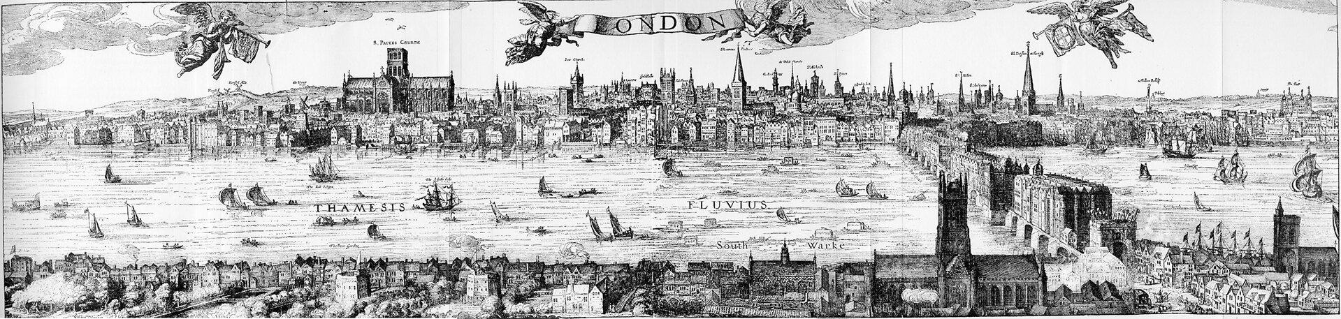 Panorama Londynu zwidokiem na port na Tamizie wg ryciny Claesa van Visschera z1616 r. Panorama Londynu zwidokiem na port na Tamizie wg ryciny Claesa van Visschera z1616 r. Źródło: Claes van Visscher, 1616, domena publiczna.